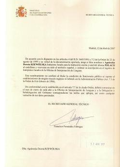 Título traductor jurado polaco español